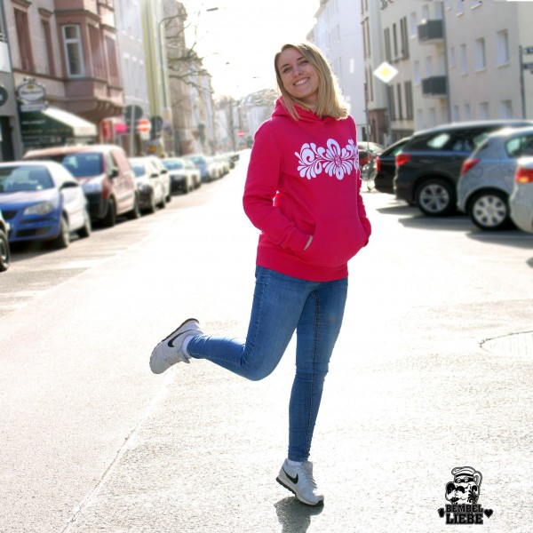 Hoodie - Bembel Lebensblume Bembel - Pink - Lady Damen Bembelranke