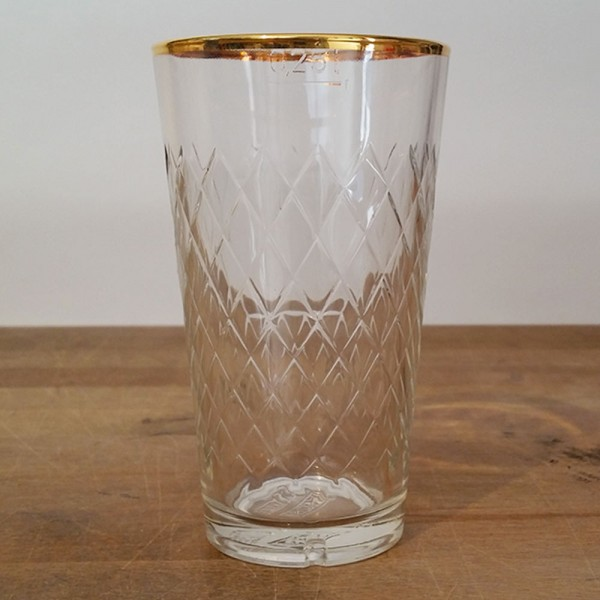 Apfelweinglas 0,25 Liter Goldrand Geripptes