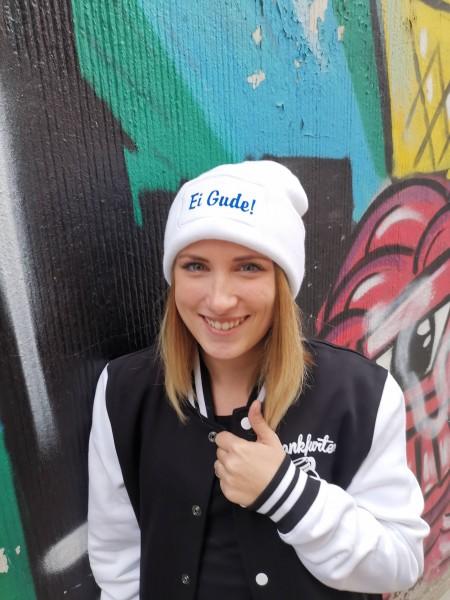 Ei Gude Beanie Mütze Weiß/Blau